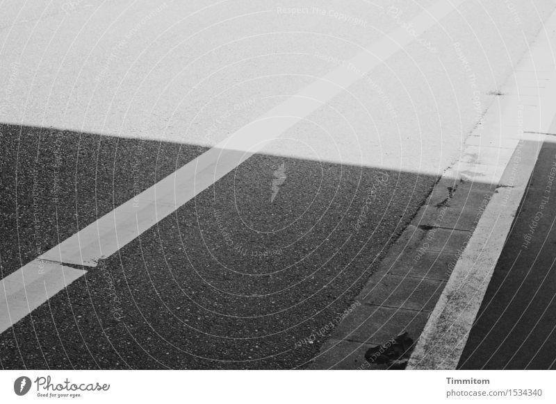 Vorsicht - Blätter im Rinnstein! Straße Bundesstraße Bürgersteig Schilder & Markierungen Linie dunkel hell grau schwarz weiß Sachlichkeit Blatt leer