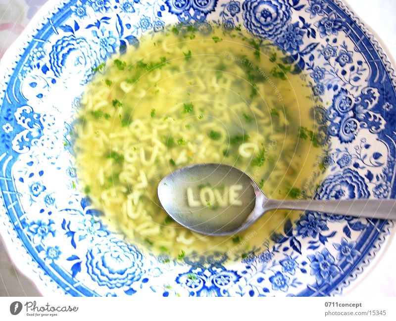 Buchstabensuppe 4 Lovers Freude Liebe Gesundheit gehen Ernährung Tisch Kochen & Garen & Backen Pause Hoffnung lecker tief Appetit & Hunger Teller Vorfreude