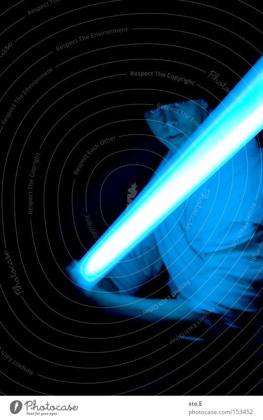 Luke, ich bin dein Vater Star Wars Laserschwert Umhang Science Fiction blau Kämpfer Meister Duell Filmindustrie dunkel schwarz Kino Mensch jedi obi-wan kenobi
