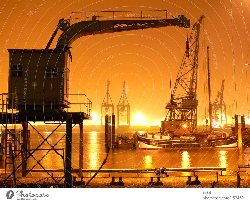 Hamburger Haken Wasser orange Industrie Güterverkehr & Logistik Hafen Wirtschaft Handel Kran Ware