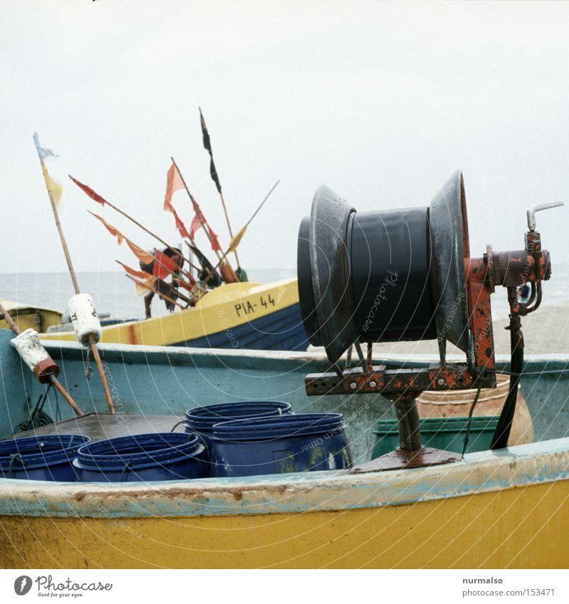 von der Rolle sein Meer Strand Farbe Arbeit & Erwerbstätigkeit Wasserfahrzeug Fisch Netz Wissenschaften Grenze Ostsee polnisch Polen Lebensmittel Fischerboot