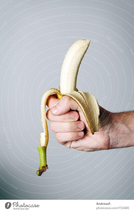 Banana?! Hand Ernährung Gesundheit Essen Frucht Energiewirtschaft Vitamin Hülle Banane häuten Vegetarische Ernährung Kohlenhydrate Bananenstaude