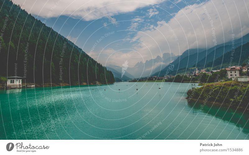 Dolomiten Stausee Ferien & Urlaub & Reisen blau grün Sommer Wasser Erholung ruhig Ferne Berge u. Gebirge Bewegung Freiheit Schwimmen & Baden Tourismus