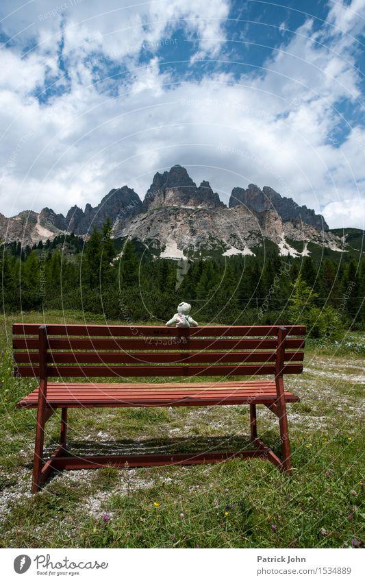 Dolomiten und Teddy Ferien & Urlaub & Reisen Ausflug Camping Sommer Berge u. Gebirge wandern Alpen Teddybär Klettern Bergsteigen Natur Landschaft Schönes Wetter