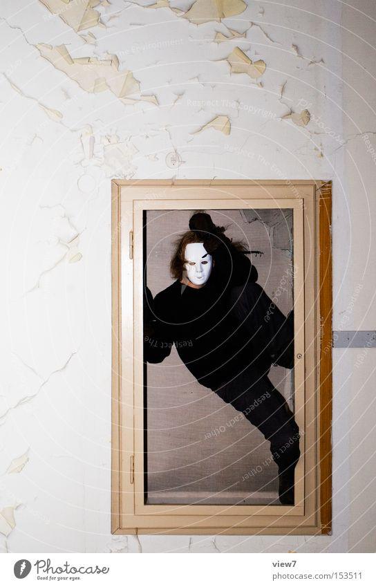 eingesperrt. Mensch Mann schwarz Wand Trauer Maske Bild Dinge obskur Verzweiflung Loch Rahmen Justizvollzugsanstalt Krimineller Tresor Käfig