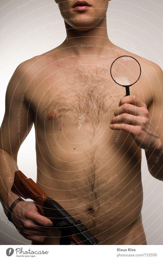 MY KRIMI TRIP Mann Jugendliche Erwachsene nackt Mund Junger Mann obskur Bauch seltsam Bildausschnitt Waffe Anschnitt Lupe Kriminalität Brustbehaarung