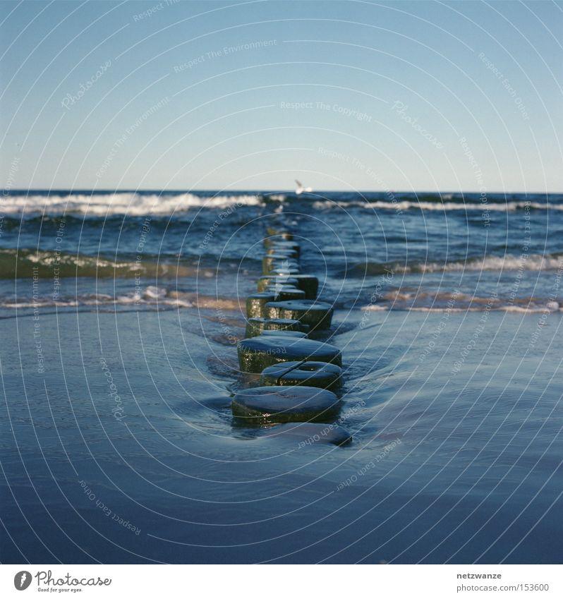 Gerade Meer blau Strand Ferien & Urlaub & Reisen Holz Linie Wellen Mittelformat Scan