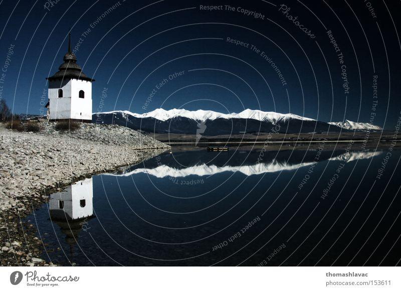 Liptovska Mara See 1 Staumauer Wasser Reflexion & Spiegelung Turm Kirche Küste Himmel Berge u. Gebirge Gotteshäuser Damm