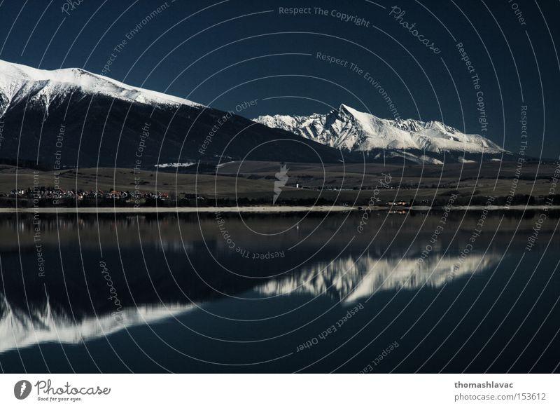 Liptovska Mara 2 See Staumauer Wasser Reflexion & Spiegelung Himmel Berge u. Gebirge blau Schnee Damm