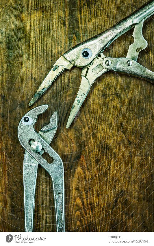 Halt die Klappe! Zwei Zangen mit Augen auf einem alten Holztisch Arbeit & Erwerbstätigkeit Beruf Handwerker Arbeitsplatz Baustelle Dienstleistungsgewerbe
