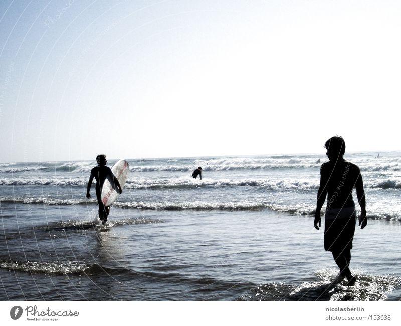 You said you would love me until you die.. Surfen Strand Surfbrett Meer Wellen Mensch Mann Silhouette Schatten blau Himmel Freude Sommer Vergänglichkeit