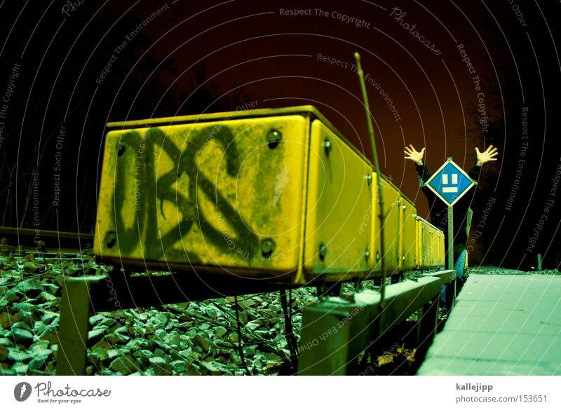 eltern haften für ihre kinder Schilder & Markierungen Eisenbahn Elektrizität Gleise Geister u. Gespenster Bahnhof Comic Container Bahnsteig Schrecken Signal
