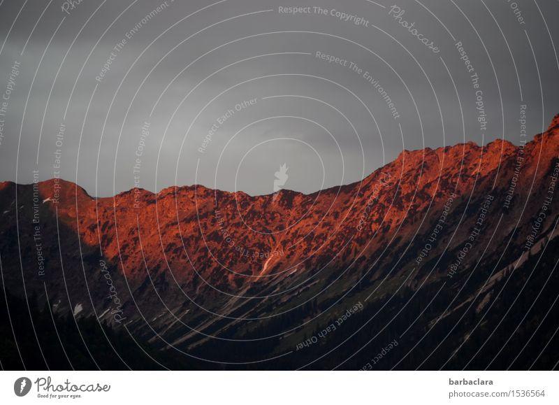 Drama am Alpenhimmel Natur Urelemente Erde Luft Himmel Wolken Klima Berge u. Gebirge Allgäuer Alpen Gipfel dunkel rot Stimmung Horizont Ferne Farbfoto