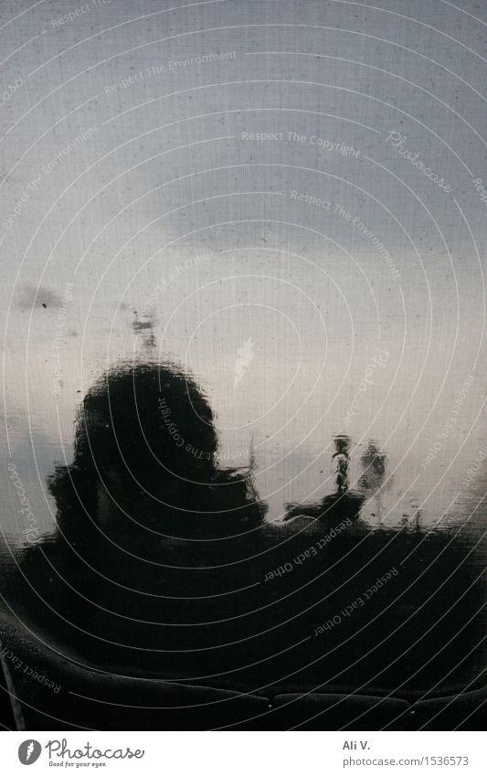 Regenschauer Himmel Wolken Wetter Stadt Menschenleer Haus Turm Gebäude Architektur Dach Schornstein Stimmung Farbfoto Abend