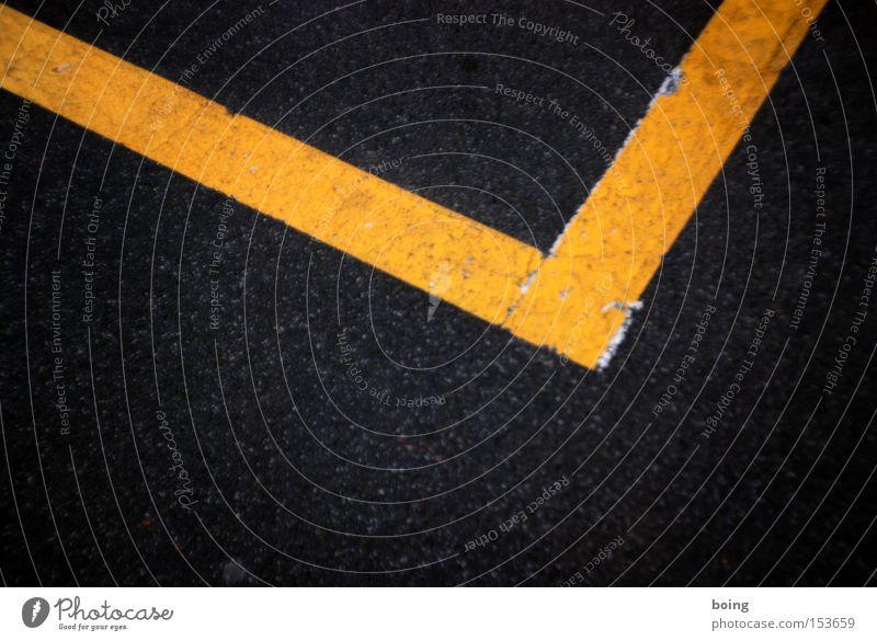 90° Straße Schilder & Markierungen Ecke Streifen Baustelle gesperrt Parkplatz gelb Straßennamenschild Warnhinweis Warnschild Verkehrswege rechter Winkel