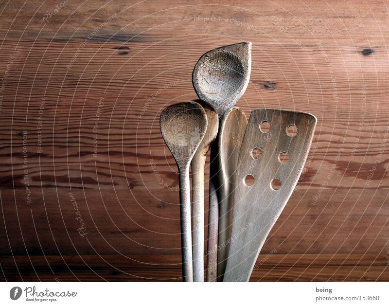Löffelchen Kochlöffel Küche Manuelles Küchengerät Pfannenheber Schnitzereien alt Ernährung Besteck Handwerk Gastronomie Haushalt rühren drehen Kochbesteck