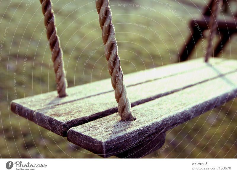 Winterpause alt Winter Freude Wiese Spielen Holz Garten Traurigkeit Park Kindheit Freizeit & Hobby warten Seil authentisch Frost Häusliches Leben