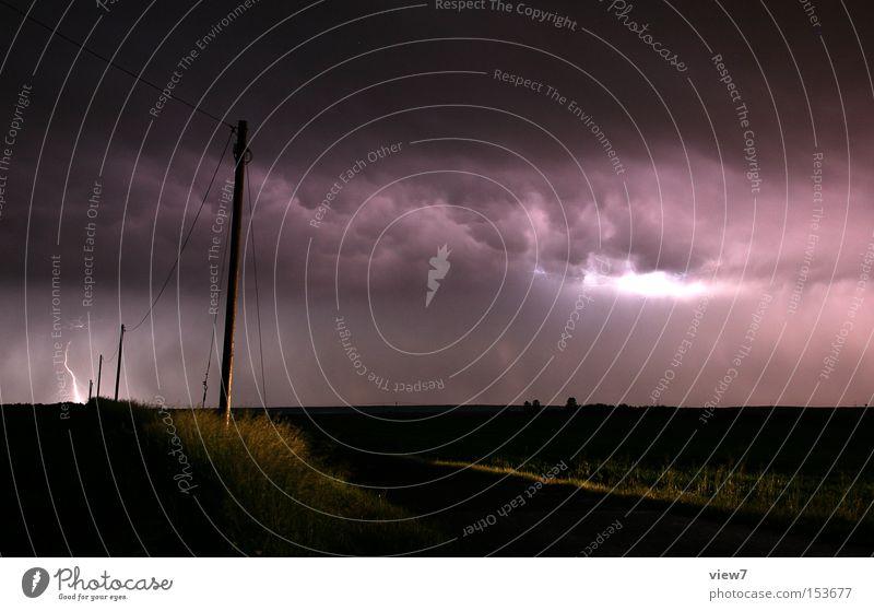 Gewitter Unwetter Regen Sturm Klima Wolken Blitze Donnern Wandel & Veränderung Klimawandel Nacht Licht Erkenntnis Strommast Telefonmast Leitung