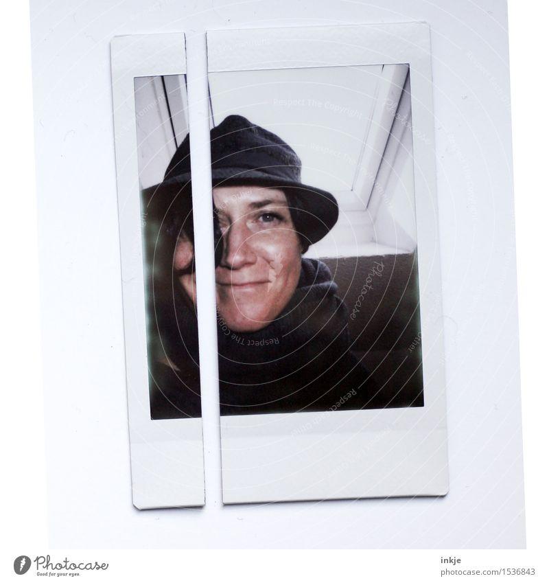 Selbstportrait | polaroid Mensch Frau Gesicht Erwachsene Leben außergewöhnlich Lächeln Freundlichkeit Hut geschnitten 30-45 Jahre geteilt Bild-im-Bild