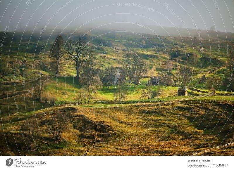 Himmel Natur Ferien & Urlaub & Reisen grün Baum Landschaft Wolken Haus Wald Berge u. Gebirge gelb Frühling Wiese Gras Garten braun
