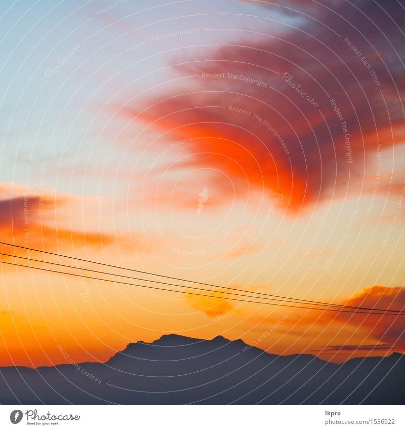 Berg in Marokko Afrika und Himmel Natur Ferien & Urlaub & Reisen blau schön Farbe Sommer Sonne Landschaft rot Wolken dunkel Berge u. Gebirge Felsen Tourismus
