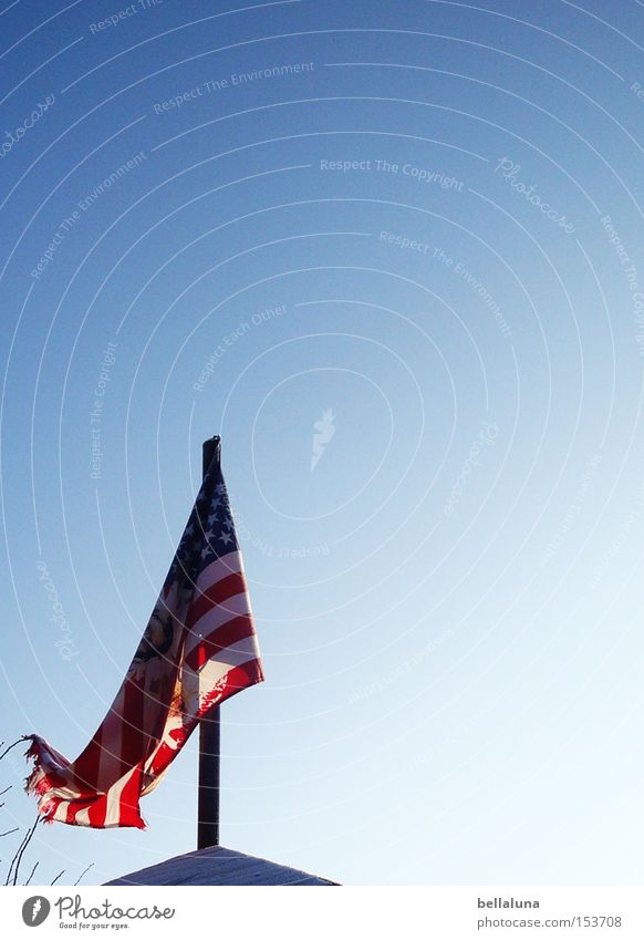 Flagge zeigen Himmel blau weiß rot Dach USA Fahne Amerika Stars and Stripes Fahnenmast Blauer Himmel Wolkenloser Himmel