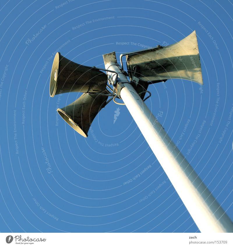 Bitte sprechen Sie laut und deutlich ruhig Musik gefährlich Technik & Technologie schreien Sprache Lautsprecher Ton Klang Warnhinweis Megaphon Warnschild