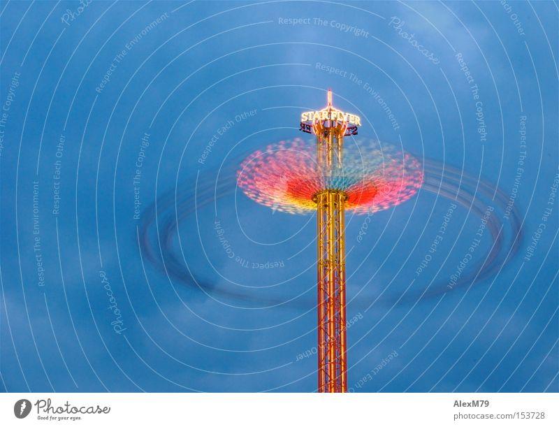 Star Flyer Jahrmarkt Dämmerung Geschwindigkeit Kettenkarussell mehrfarbig Langzeitbelichtung Elektrisches Gerät Technik & Technologie Bewegung