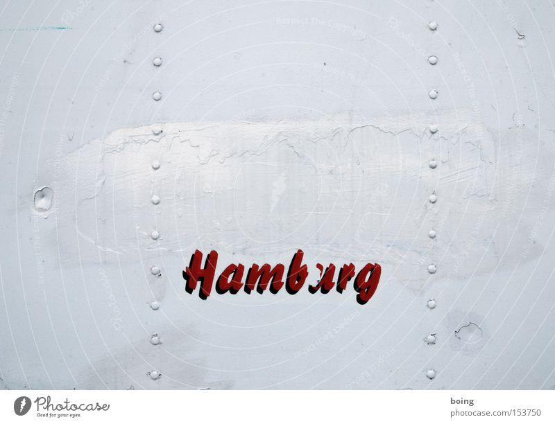 Hamburg Wohnwagen Container Schausteller Jahrmarkt Fahrgeschäfte Ortsschild Buchstaben Schriftzeichen Werbung mobiler Fischhändler überstrichen