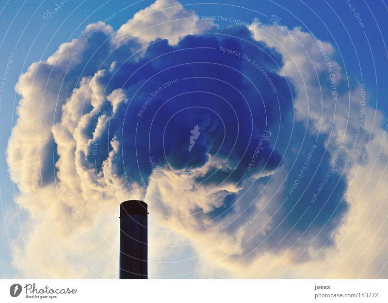 Räucherstäbchen Himmel Natur Umwelt hoch Klima bedrohlich Industrie Schönes Wetter rund viele Fabrik Rauch Umweltschutz Abgas Schornstein Klimawandel