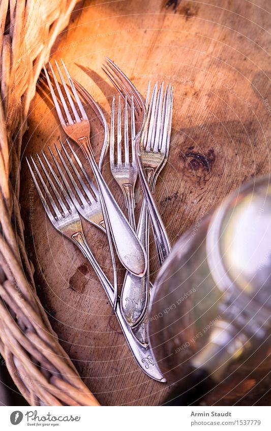 Gabeln Ernährung Frühstück Mittagessen Kaffeetrinken Picknick Besteck Lifestyle Stil Design Sommer positiv retro silber Stimmung Vorfreude Espressokocher
