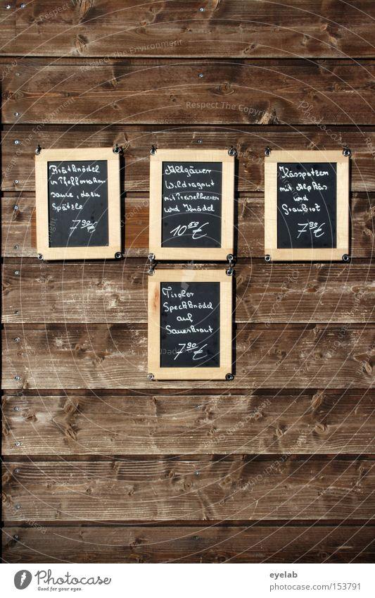 Vertäfelung - Wer die Wahl hat, hat die Qual ! Ernährung Wand Holz Lebensmittel Schilder & Markierungen Schriftzeichen Buchstaben Gastronomie Speise Typographie