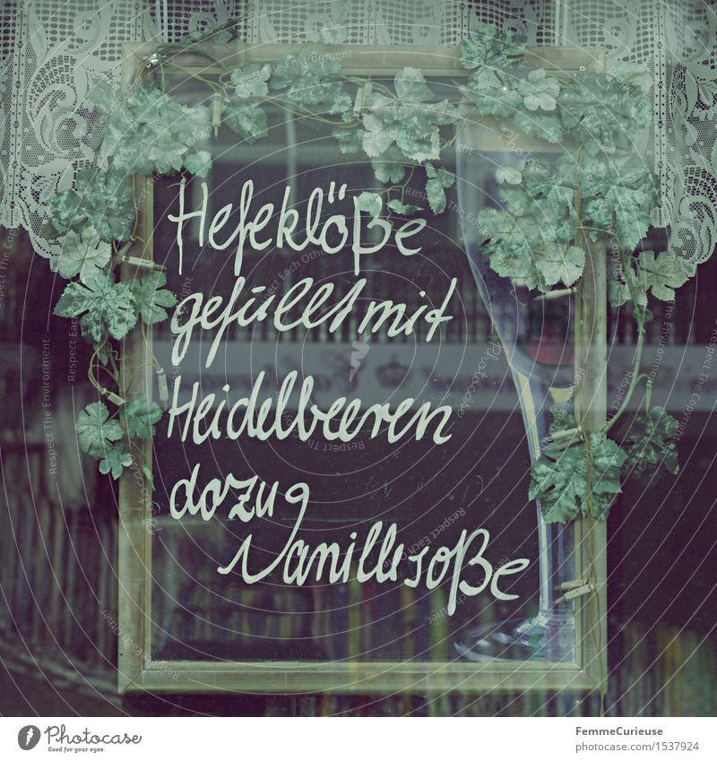 Leibgericht. Lebensmittel Milcherzeugnisse Ernährung Mittagessen Kaffeetrinken Abendessen genießen Hefeklöße Blaubeeren Vanillesauce Schilder & Markierungen