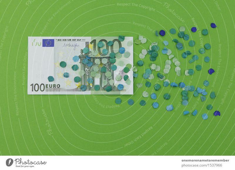 Macht 100 Euro! Hä?? grün Kunst Business Design Dekoration & Verzierung ästhetisch Kreativität Geld Geldinstitut verfallen Verfall Geldscheine Kunstwerk