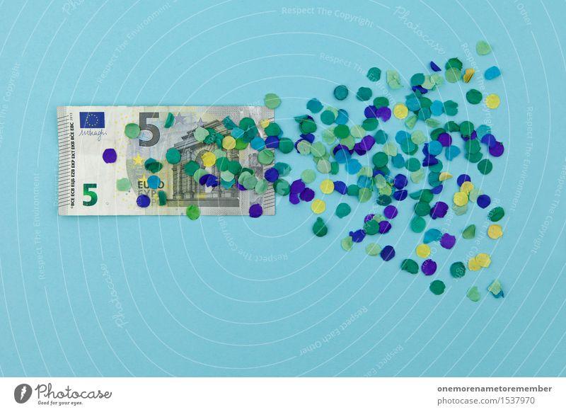 Ich biete 5 Euro! blau Kunst Design ästhetisch Europa Geld graphisch Kunstwerk Konfetti Eurozeichen Wert Finanzkrise wertlos Wertschätzung