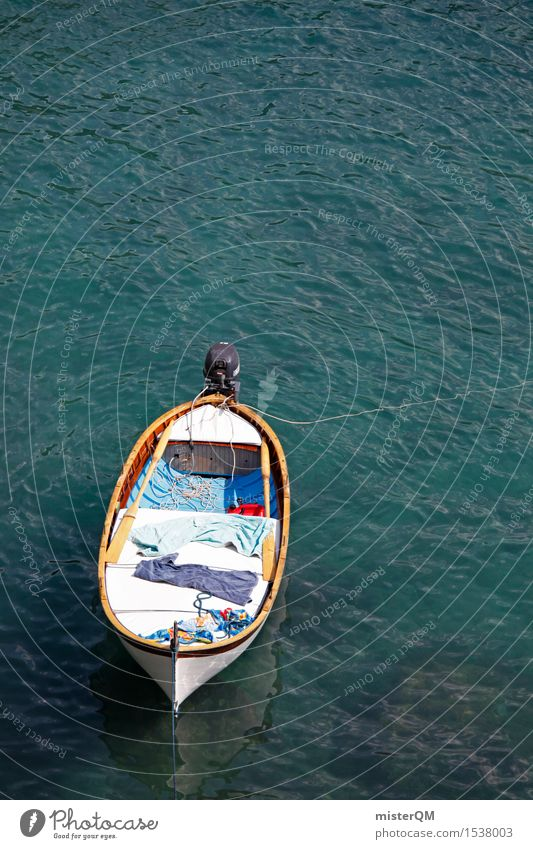 On a boat! Sommer Meer Küste Kunst Wasserfahrzeug Idylle ästhetisch Hafen Sommerurlaub Botanik Kunstwerk ankern