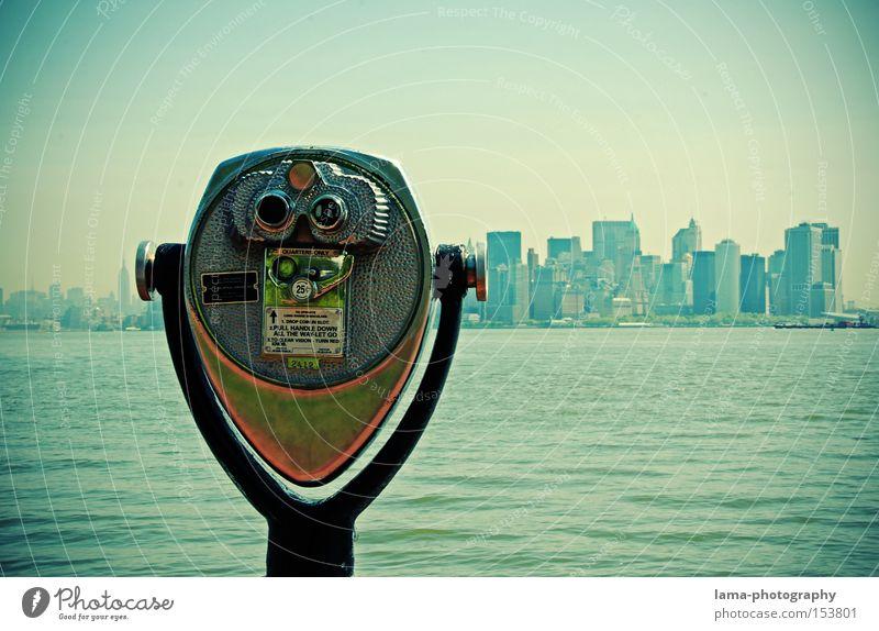 Enjoy the view Meer Technik & Technologie Fortschritt Zukunft New York City Manhattan USA Amerika Skyline Hochhaus Fernglas Teleskop groß Aussicht