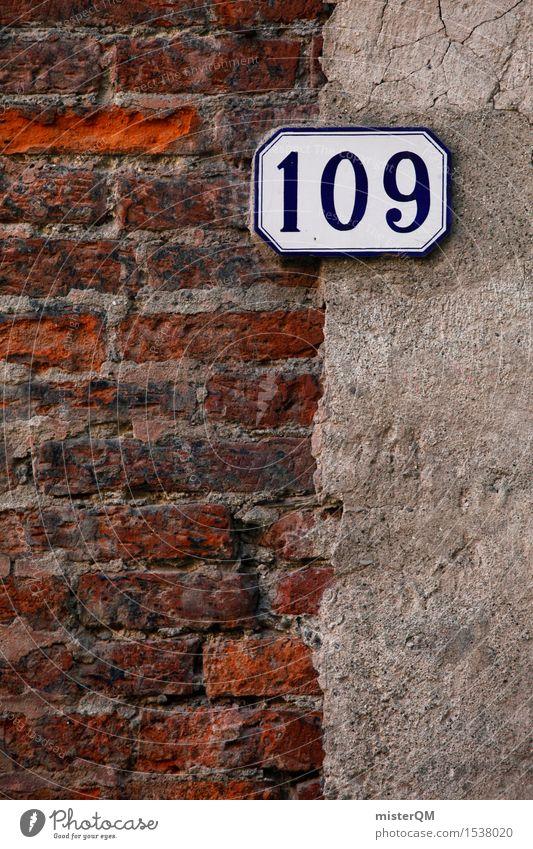 109. Kunst Kunstwerk ästhetisch Ziffern & Zahlen Hausnummer Backstein Wand Fassade Farbfoto mehrfarbig Außenaufnahme Experiment abstrakt Muster Menschenleer