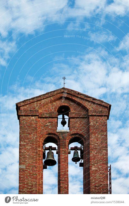 Toskana Turm. Kunst ästhetisch Architektur mediterran Kirche Kirchentag Kirchenglocke Kirchturm Backstein rot blau Italien Farbfoto mehrfarbig Außenaufnahme