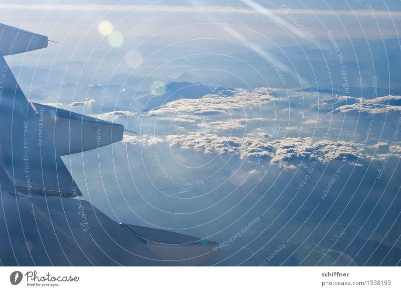 Zwischenhoch Umwelt Natur Landschaft Wolken Schönes Wetter Berge u. Gebirge Gipfel Schneebedeckte Gipfel Gletscher Luftverkehr Flugzeug Passagierflugzeug
