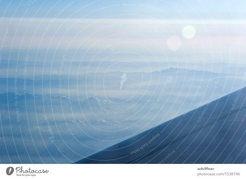 Riesenzettecke Umwelt Landschaft Sonnenlicht Schönes Wetter Berge u. Gebirge blau Gipfel Flugzeug Tragfläche Naher und Mittlerer Osten Hintergrundbild Dunst