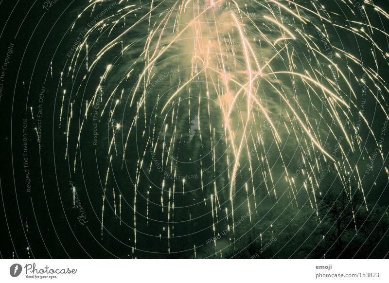 nicht Silvester I Silvester u. Neujahr Funken grün Feuerwerk Licht Ziel Beginn Nacht Erfolg funkenregen grünlich racketen Brand Ende