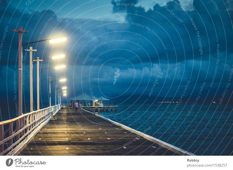 Stegrandbeleuchtung Ferien & Urlaub & Reisen Tourismus Kreuzfahrt Meer Küste Seeufer Flussufer Bucht Anlegestelle Wege & Pfade Schifffahrt Hafen kalt blau