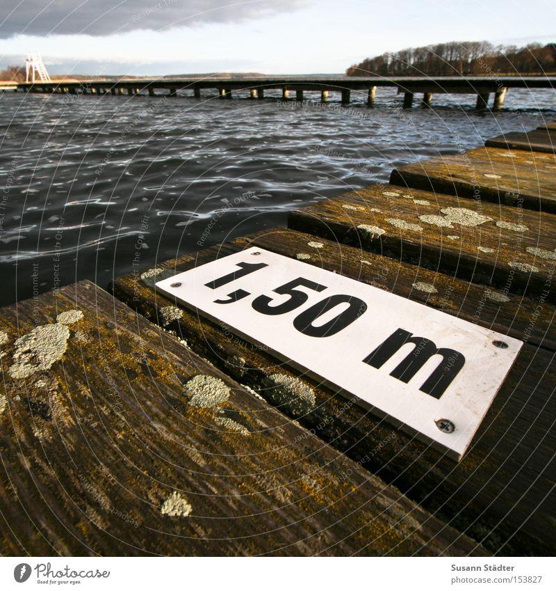 Ein Meter Fünfzig Wasser kalt Holz See Wellen dreckig nass Fisch tauchen Steg tief feucht Kot Meter Vogeldreck