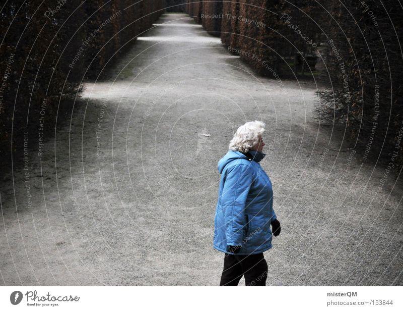 Das etwas andere Bild. Ruhestand Labyrinth Ausweg Senior Altersversorgung Winter Spaziergang blau Anorak Zukunft Perspektive Richtung Suche Park Konzentration