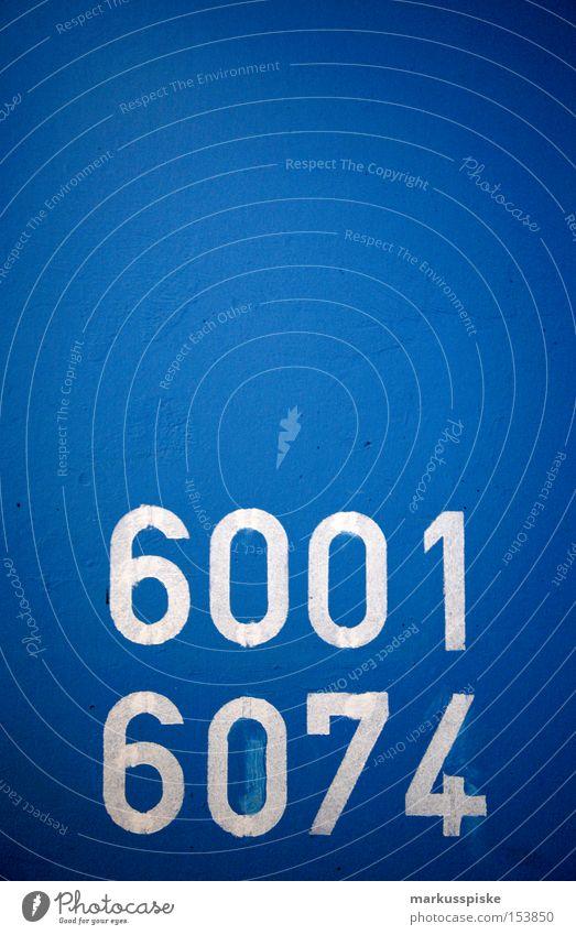 6001 - 6074 Schriftzeichen Information Typographie Ziffern & Zahlen Etage blau weiß Orientierung Dienstleistungsgewerbe Detailaufnahme Hinweisschild vierstellig