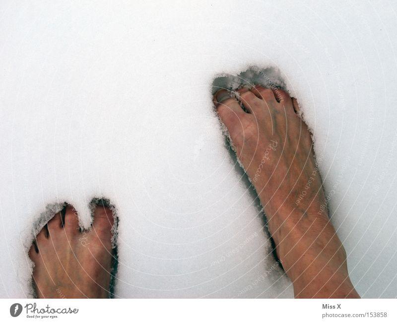 Hardcore!!! Farbfoto Außenaufnahme Winter Schnee Fuß Eis Frost frieren kalt Zehen gefroren Barfuß abhärten kalte Füße Abwehrkräfte