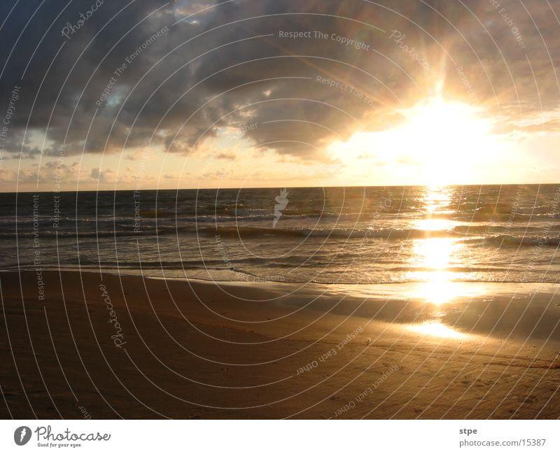 Sonnenuntergang 1 Wasser Himmel Meer Strand Sand