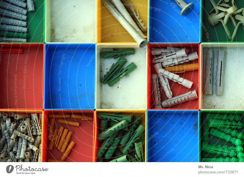 gemischtwarenladen weiß grün blau rot gelb klein Markt groß Ordnung Freizeit & Hobby dünn lang Handwerk Material kurz Fächer