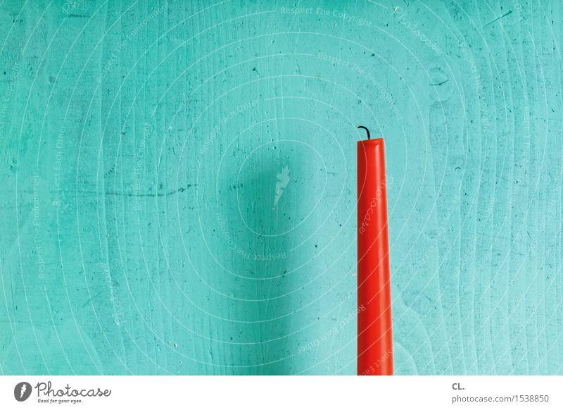 kerze Häusliches Leben Wohnung Dekoration & Verzierung Kerze Kerzendocht Holz ästhetisch orange rot türkis Farbfoto Innenaufnahme Menschenleer